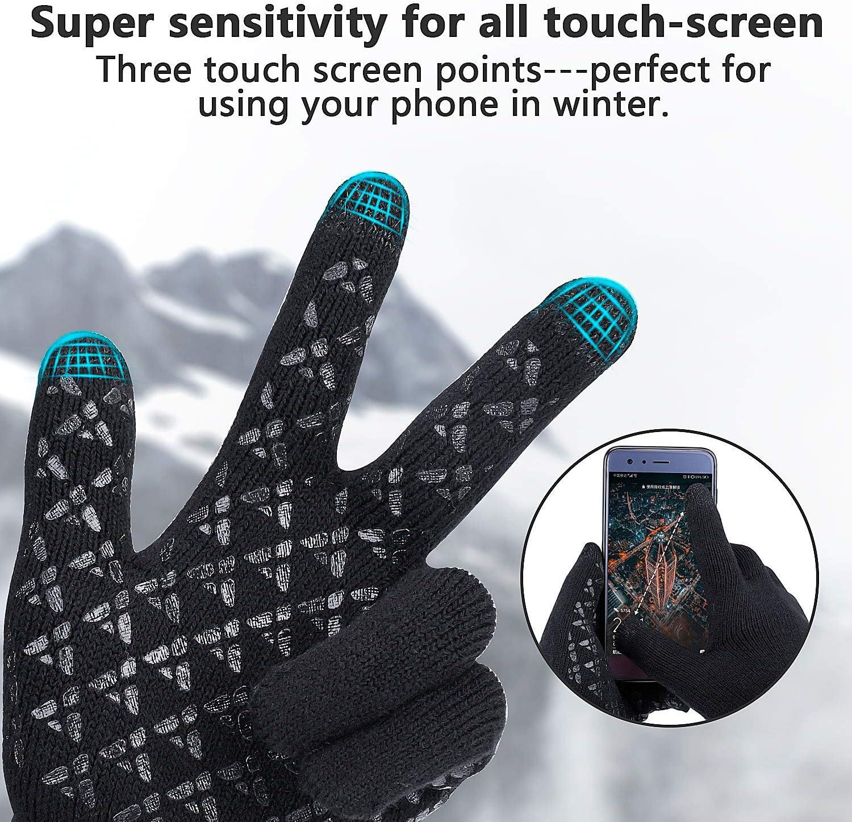 Rongli Stricken Touchscreen Winterhandschuhe Thermohandschuhe Damen Herren Leicht Elastisch Warme Handschuhe Fahrradhandschuhe Mit rutschfestem