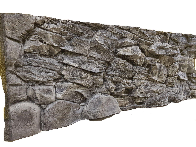 Not Foam Grey Rock 196x54cm Unique Aqua Decor 4-6 cm Thick Polyresin Aqua Maniac 3D Aquarium Background in Two Sections