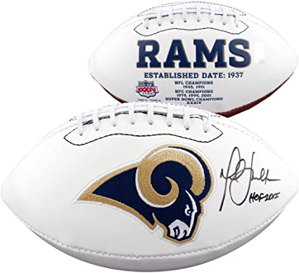 Image Unavailable. Image not available for. Color  Marshall Faulk St. Louis  Rams Autographed White Panel Football with HOF ... a39bec440