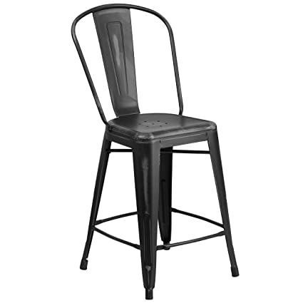 Pleasant Flash Furniture 24 High Distressed Black Metal Indoor Outdoor Counter Height Stool With Back Ibusinesslaw Wood Chair Design Ideas Ibusinesslaworg
