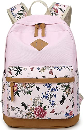Preppy Korean Style Canvas Flower Floral Casual Daypacks College Student Satchels 1317.76.3 in LHW , Pink
