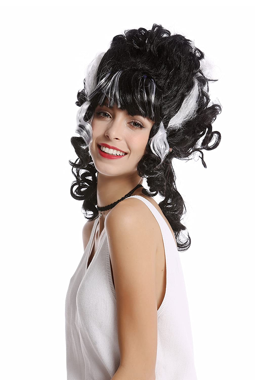 WIG ME UP ® - 91082-ZA103+ZA62 Peluca Mujer Halloween Carnaval rizos Sujetar colmen Negro Rayas Blanco Frankenstein condesa Vampiro: Amazon.es: Juguetes y ...