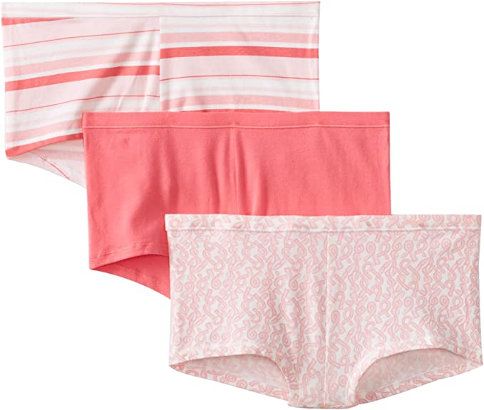 Victoria Secret Pink Medium M Boyshort Panties Boy Short Boxer Cotton Black Logo