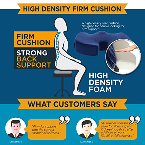 Amazon.com: Dr. Ergo | Chiropractor Grade | Firm Orthopedic Memory Foam Seat  Cushion | Coccyx, Tailbone And Sciatica Pain Relief | Non Slip Back Support  ...