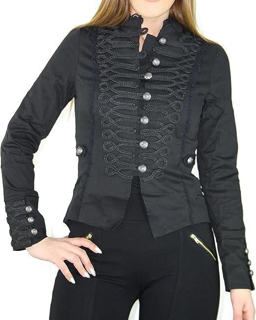 damen jacke schwarz baumwolle knöpfe