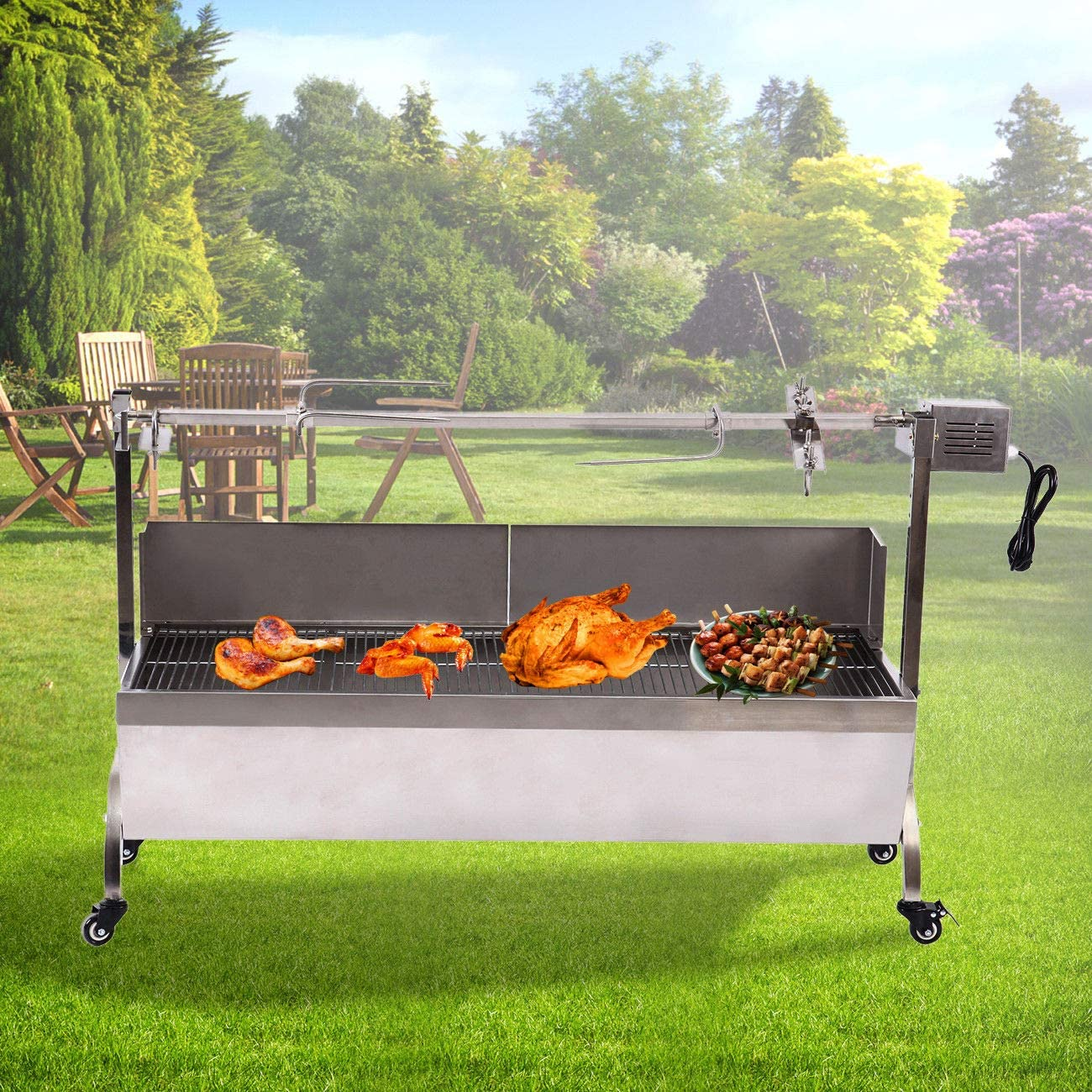TryE Rotisserie Roaster Grill Skewer Spit Stainless Steel Hog Roasting Machine Charcoal BBQ Pig Lamb