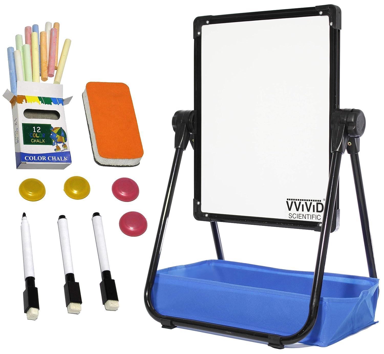 VViViD Double-Sided Adjustable 14.5 Inch by 18.5 Inch Aluminum U-Frame Children's Art Easel Magnetic Whiteboard and Blackboard Set Including Art Supplies 81S2sdg0tjL