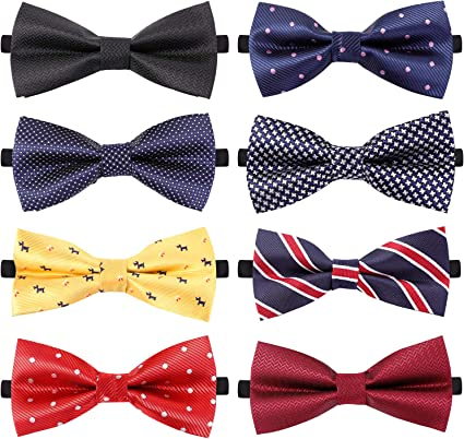 8 PACKS Elegant Adjustable Pre-tied bow ties for Men And Boys in Different Colors