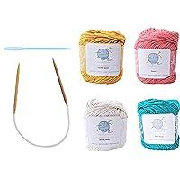 mindfulknits Beginner's Knitting Kit with Knitting Needles, Yarn Needles & 100% Cotton Knitting Yarn (4) – Tropical…