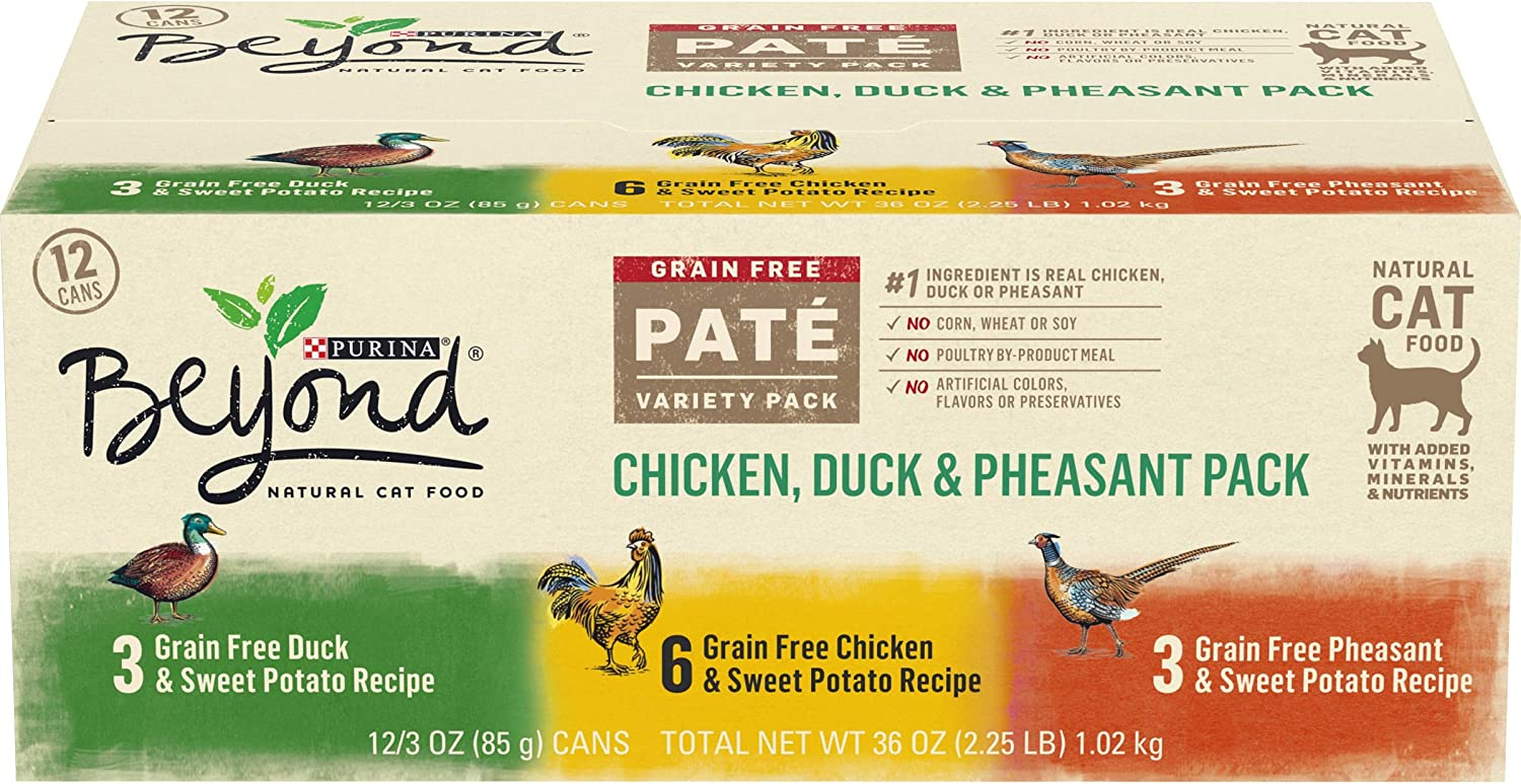Purina Beyond Grain Free, Natural Pate Wet Cat Food, Chicken, Duck & Pheasant Recipe Variety Pack - (2 Packs of 12) 3 oz. Cans