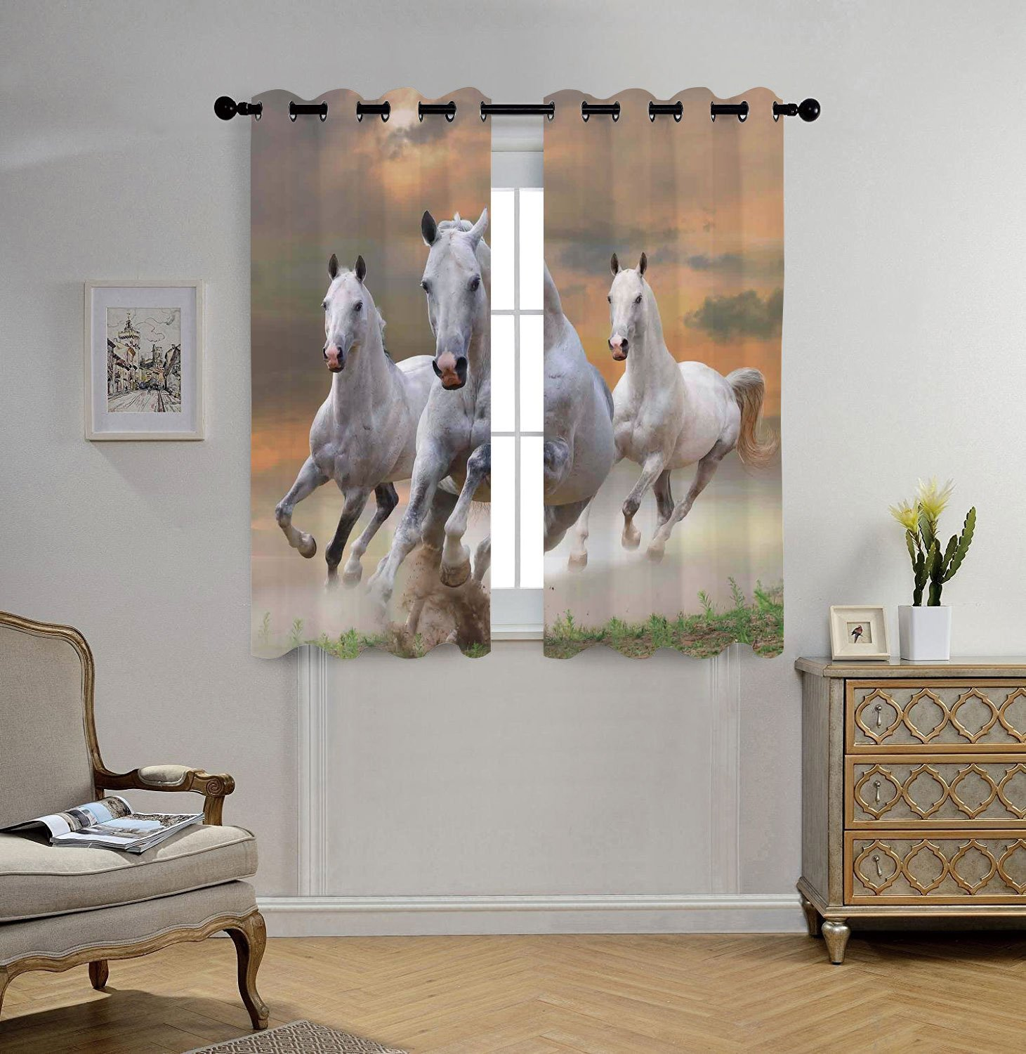 Stylish Window Curtains,Animal Decor,Stallion Horses Running on a Mystical Sky Background Equestrian Male Champions Print,White Orange,2 Panel Set Window Drapes,for Living Room Bedroom Kitchen Cafe by iPrint (Image #1)