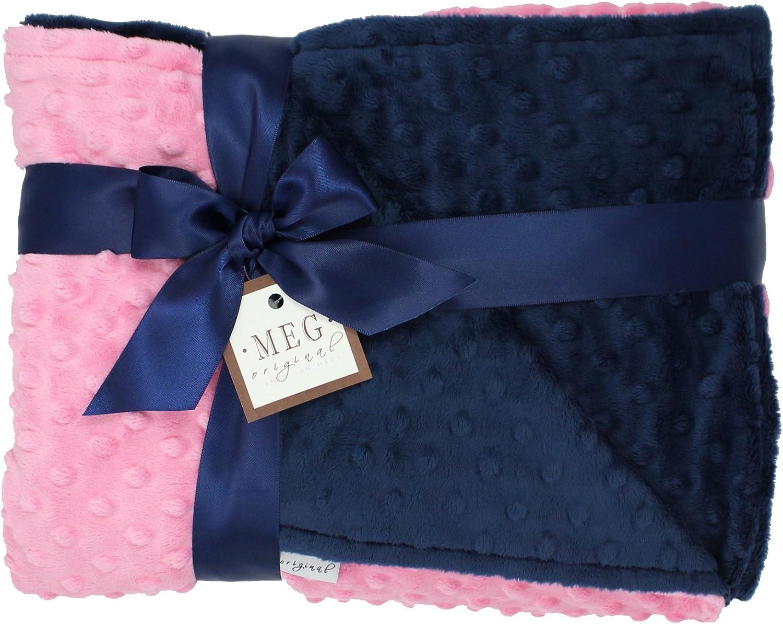 MEG Original Paris Pink and Navy Blue Minky Dot Baby Girl/Toddler Crib Blanket 667 by MEG Original