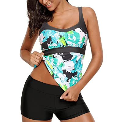 Blibea Women's Stripe Printed Surfing Tankini Swim Tops Swimwear (ONLY Tankini TOP) at Amazon Women's Clothing store