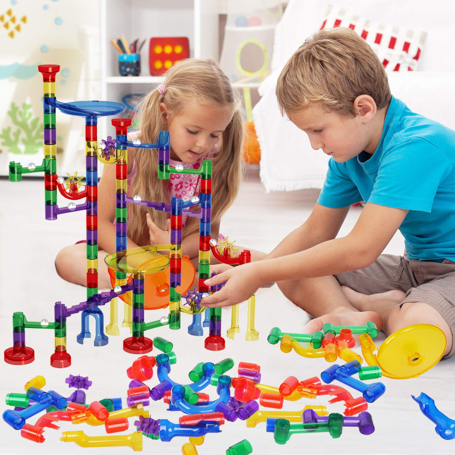 Marble Run - 127 Pcs Marble Race Track Educational Building Blocks Set Construction Stem Learning Toys Marble Maze Game for Kids 4 5 6 7 8 9 + Year Old Boys Girls (122 Marbulous Pieces + 5 Glass Marbles)