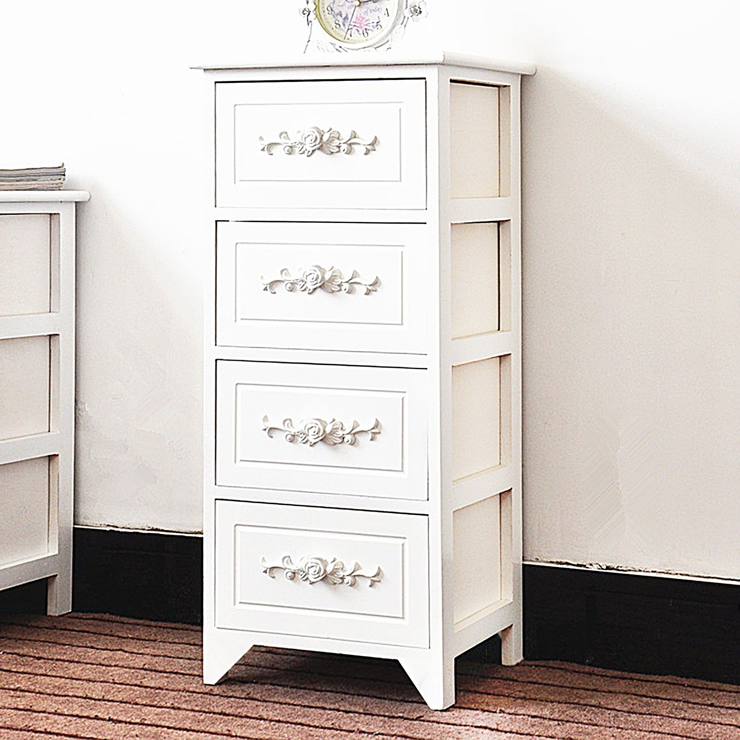 DL furniture - Fully Assembled Tone Finish Night Stand 4 Drawer Storage Shelf Organizer | White