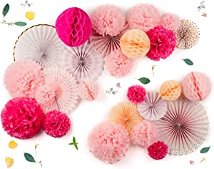 PapaKit Deluxe Origami Large Wall Decoration Set (Assorted Paper Fans & Pom-poms) Birthday Party Baby Shower Wedding Event Decor | Creative Art Design (Sparking Pink Rose Blush, Deluxe 26 Piece Set)