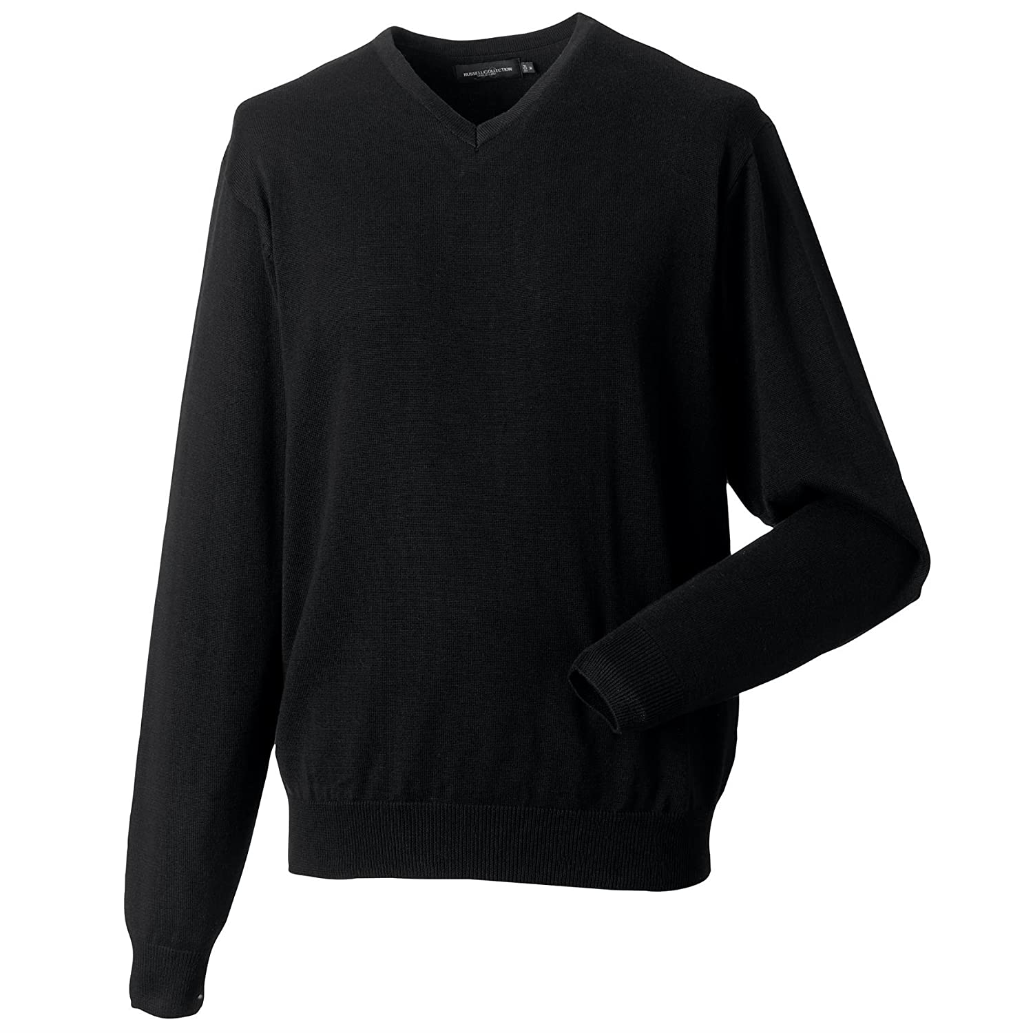 Russell Collection-Mens V-neck knitted sweater