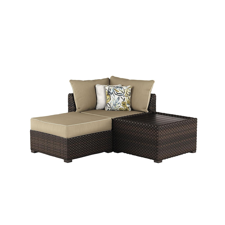 Amazon com ashley furniture signature design spring ridge outdoor 3 piece furniture set cocktail table corner chair ottoman beige brown
