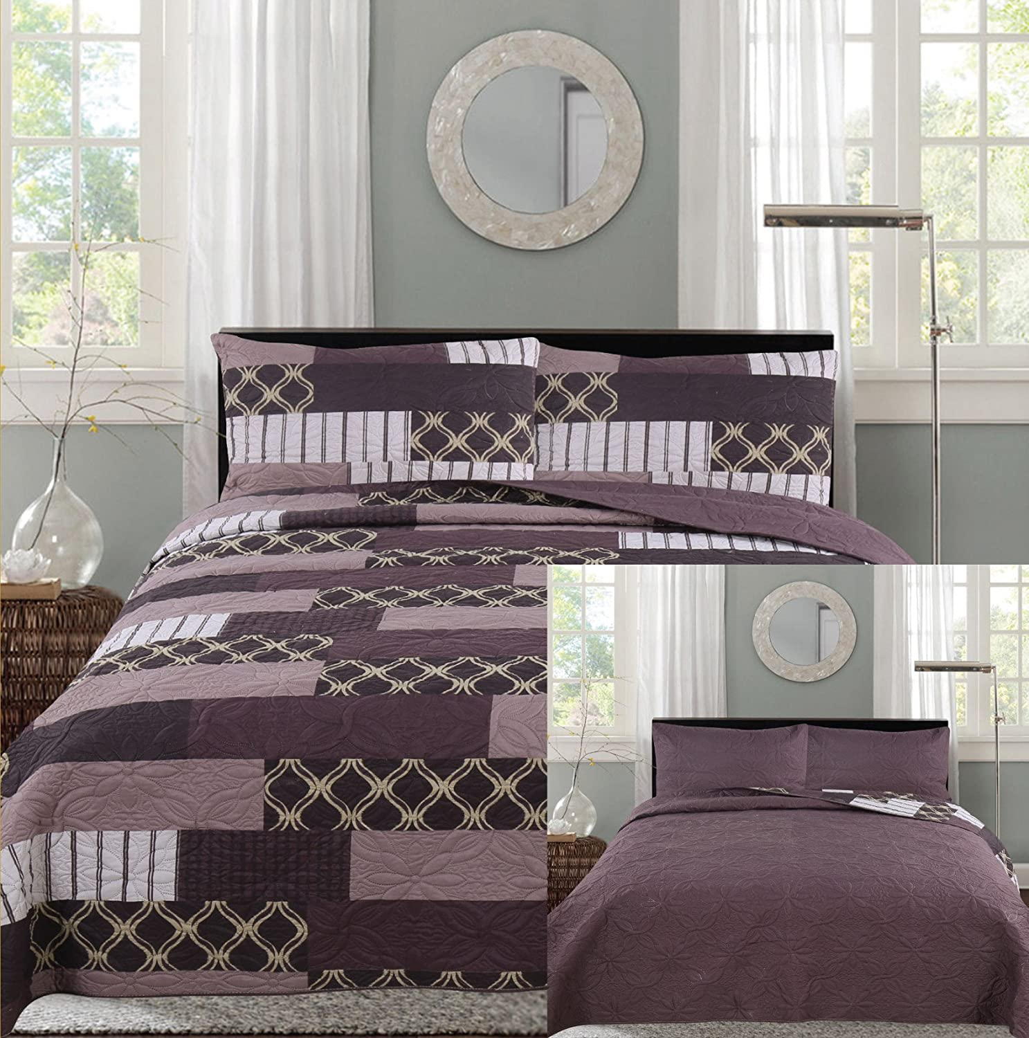 All American Collection New 3pc Printed Reversible Modern Floral Bedspread Coverlet Queen