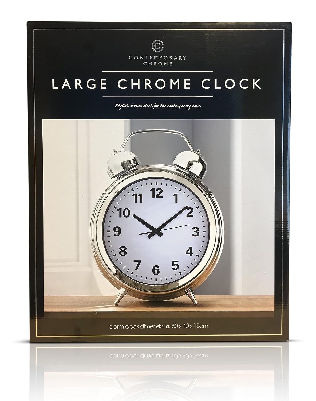 Large Oversized Classic Alarm Clock Design Contemporary 60cm Tall Clock (Chrome) Contemporary Clock