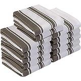 Utopia Towels Kitchen Towels (12 Pack) - Dish Towels, Machine Washable Cotton White Kitchen Dishcloths, Bar Towels & Tea Towels (15 x 25 Inch) (Grey)
