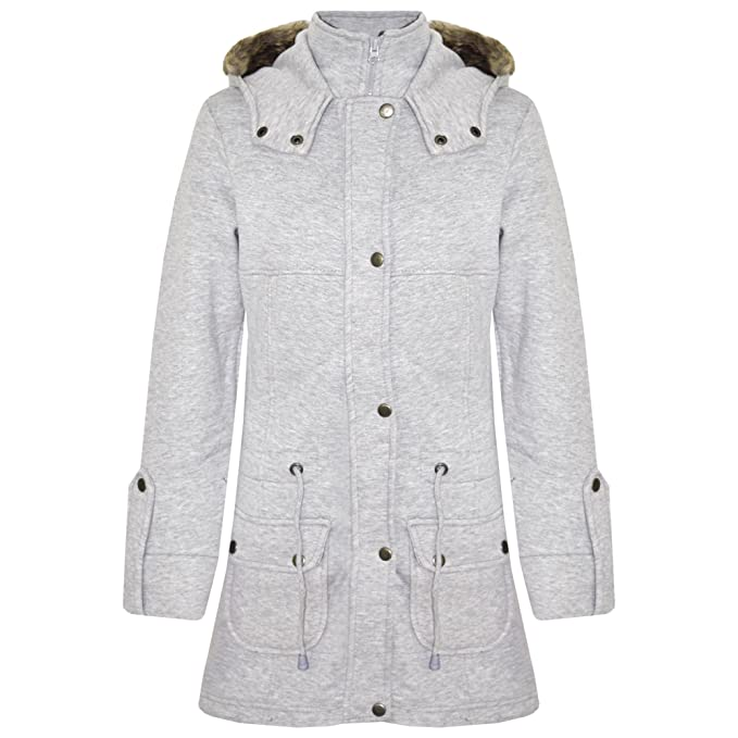 Abrigo polar largo con capucha con pelo sintético para niña, varias tallas: Amazon.es: Ropa y accesorios