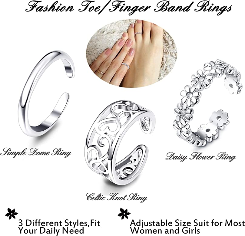 3Pcs Toe Rings for Women Girls 925 Silver Adjustable Open Toe Ring Gifts Jewelry Set