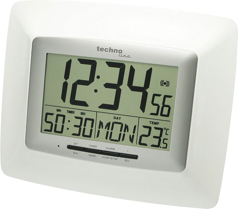 Technoline WS 8100 - Reloj de Pared (AA Mignon, LR 06, 1.5 V, Plata, Color Blanco, De plástico, 27 mm, 235 mm)