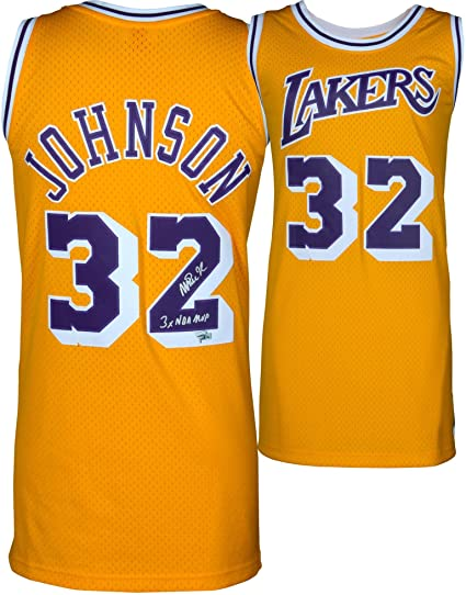 cc19f6d1596 Magic Johnson Los Angeles Lakers Autographed Gold Mitchell & Ness Hardwood  Classics Swingman Jersey with""
