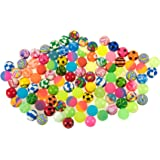 Bouncing Bouncy Balls Bulk Set - Assorted Colorful Neon Mixed Pattern Designs - for Kids Playtime, Party Favors, Prizes, Birthdays & More! - Pack of 100, 1.3 Inches