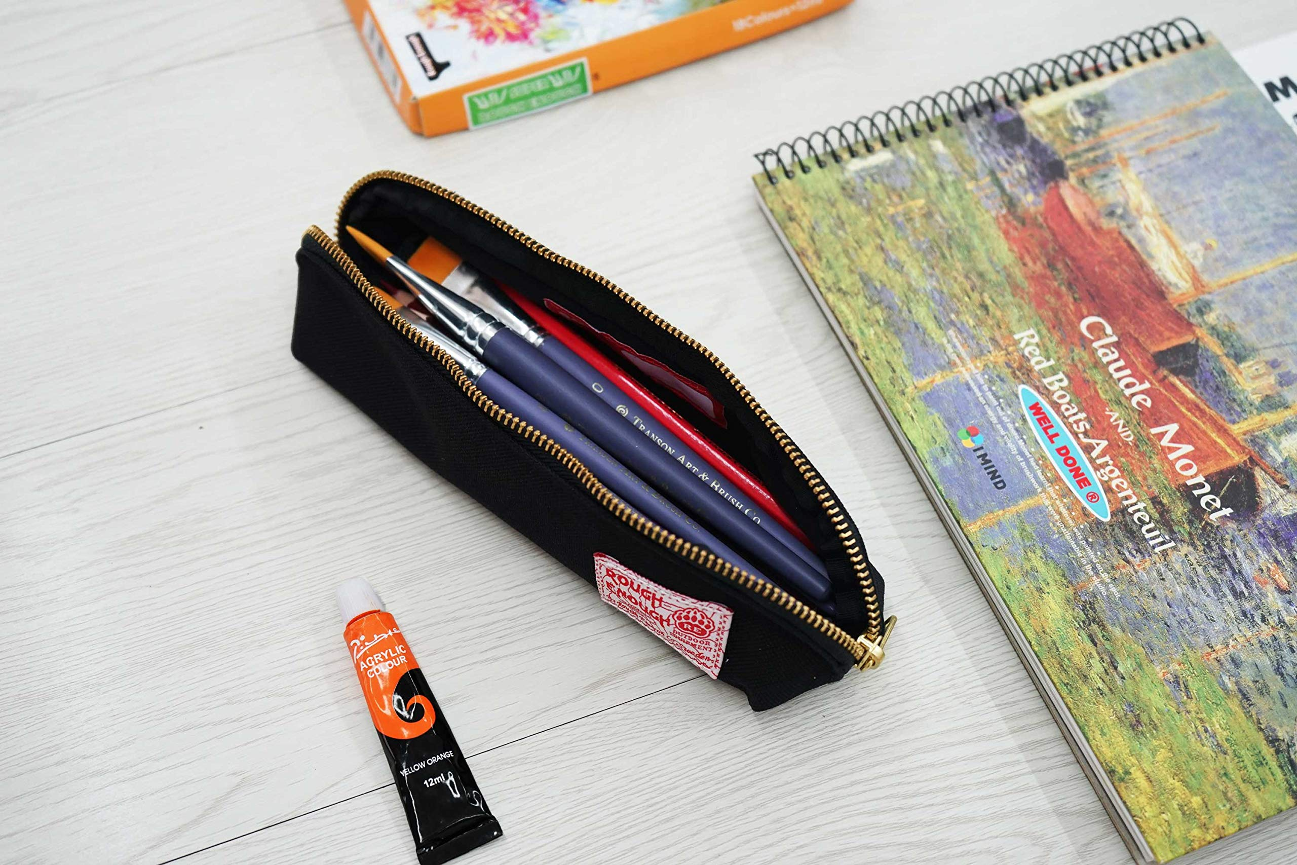 Rough Enough Multi-purpose CORDURA Polyester Long Slim Classic Portable Pencil Case Pouch Holder Organizer with YKK Gold Zipper for Stationary Cosmetics Accessories Kids Boys Students at Schools Black by ROUGH ENOUGH (Image #5)