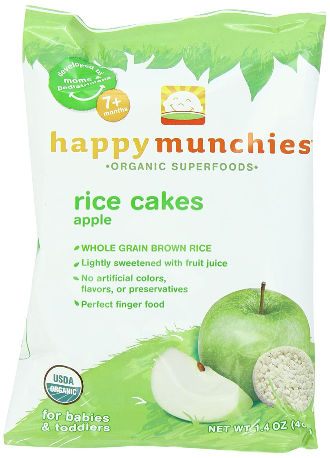 Amazon.com : Munchies felices pasteles de arroz, manzana, 1 ...