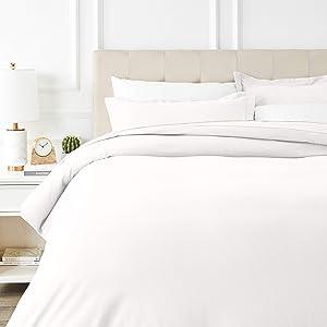 AmazonBasics Everyday Flannel Duvet Cover and 2 Pillow Sham Set - Full or Queen, White