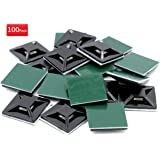 iExcell 100Pcs Black 20mm x 20mm x 4mm Adhesive Cable Tie Mount Base Holders