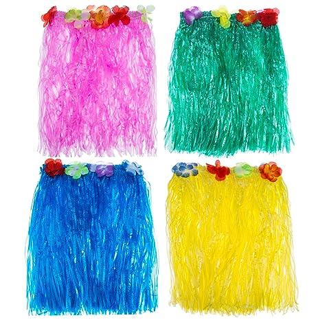 Blulu 4 Pezzi Multicolore Hawaiana Gonna di Seta Falso Fiori Erba di Hula  Vestito della Festa e1ea332e3fb