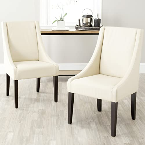 Safavieh Mercer Collection Austin Cream Leather Sloping Arm Chair