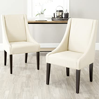 Safavieh Mercer Collection Austin Cream Leather Sloping Arm Chair, Set Of 2