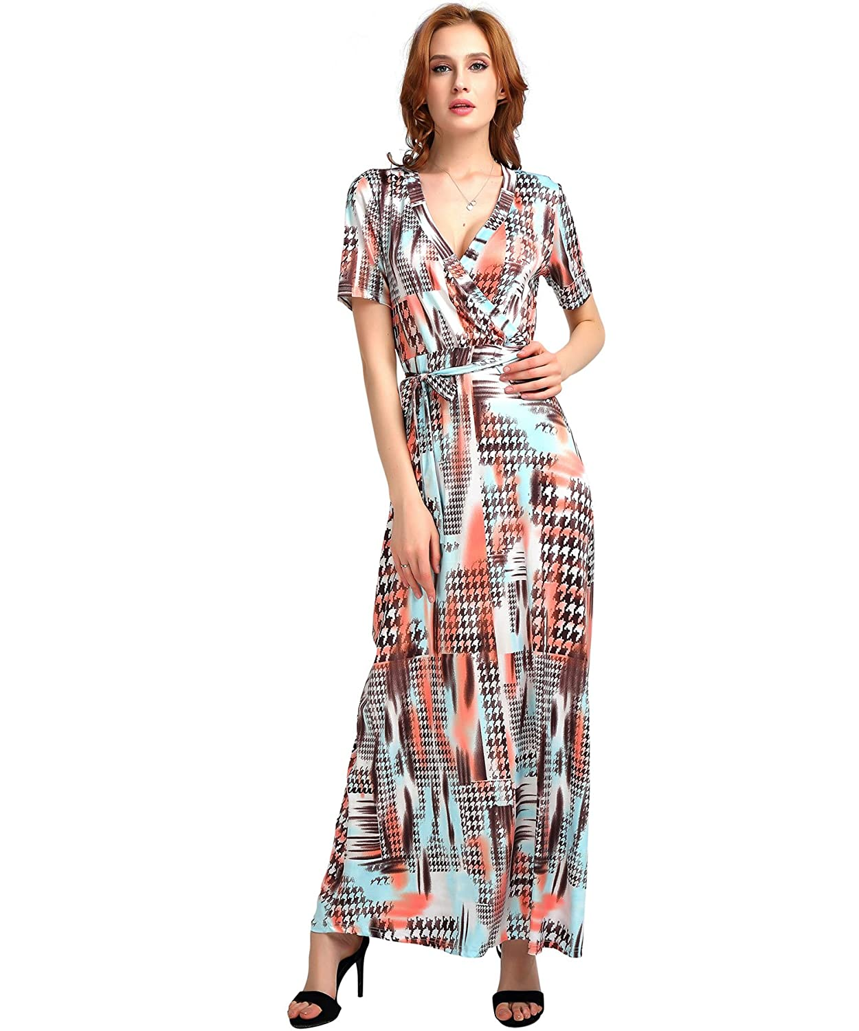 e3aca63916148 Floral Maxi Dress Short Sleeve Printed Pattern V Neck Slim Shirt Long Dress  at Amazon Women's Clothing store: