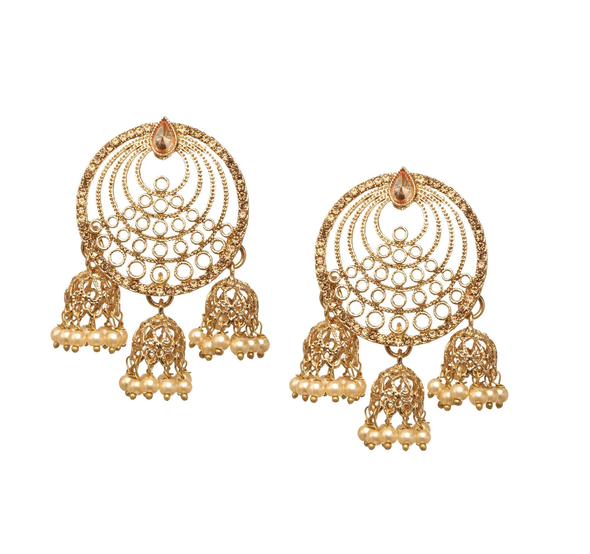 Bindhani Premium Bollywood Stylish Wedding Golden Stone Bahubali Devsena Indian Dangle Jhumka Jewelry Jhumki Earrings For Women