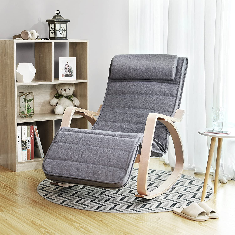SONGMICS Sessel, Schaukelstuhl, Schwingstuhl, Relaxstuhl