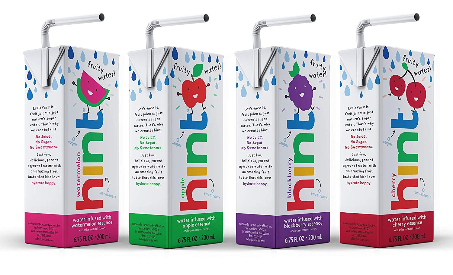 Hint Kids Water Variety Pack, (Pack of 32) 6.75 Oz Boxes, 8 Boxes Each of: Cherry, Watermelon, Apple, & Blackberry, Unsweet Water with Zero Diet Sweeteners