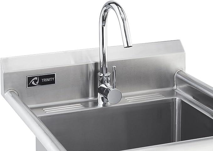 trinity stainless steel utility sink w x 23 3 d x 46 h