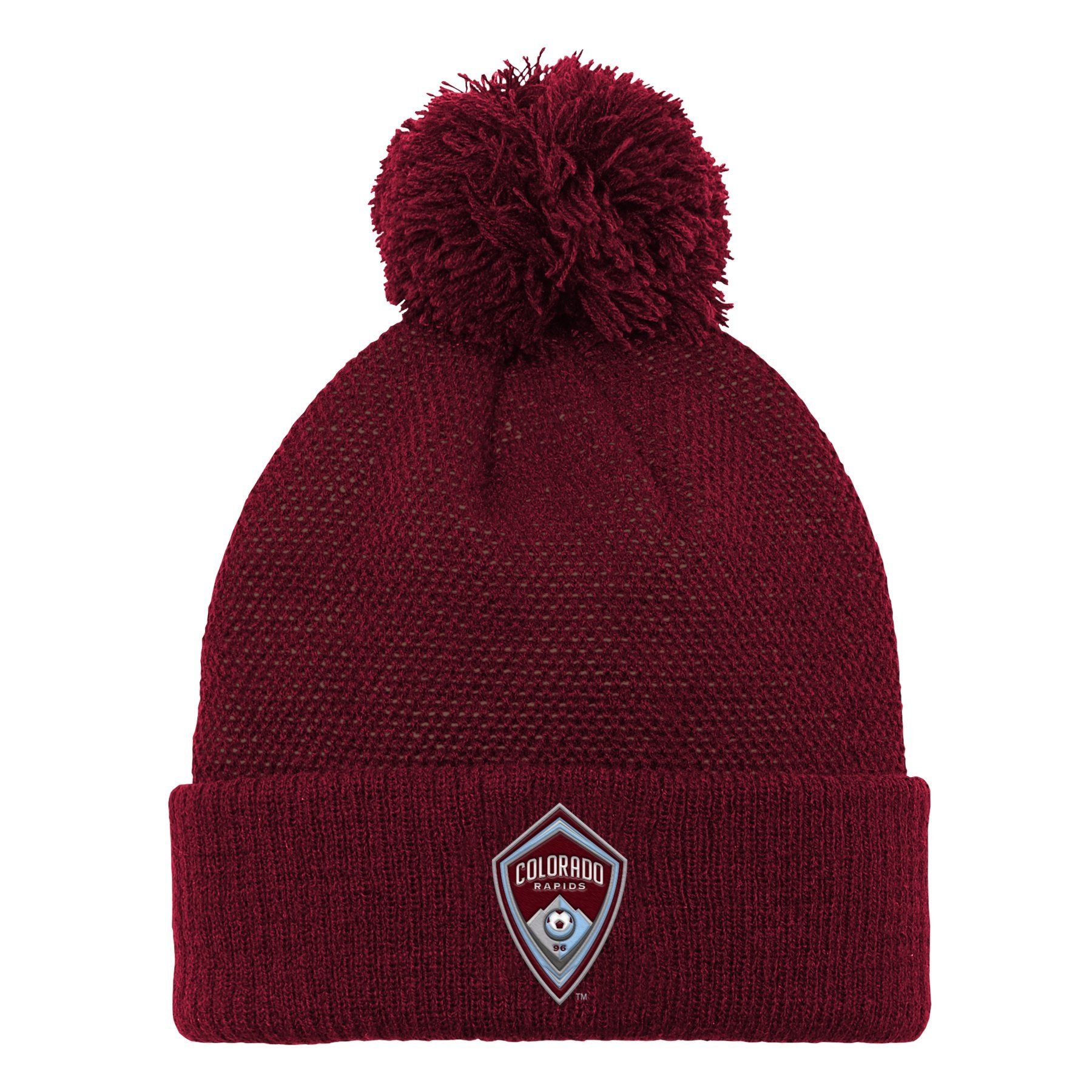 Outerstuff MLS Colorado Rapids Boys Cuffed Knit Hat with Pom, Burgundy, One Size (8)