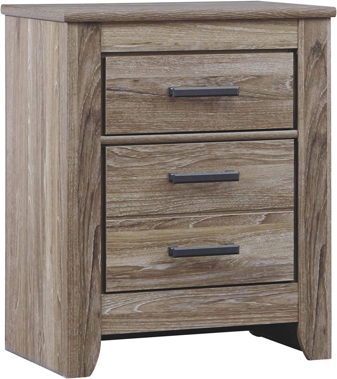 Ashley Furniture Signature Design – Zelen Nightstand – Vintage Finish – Warm Gray