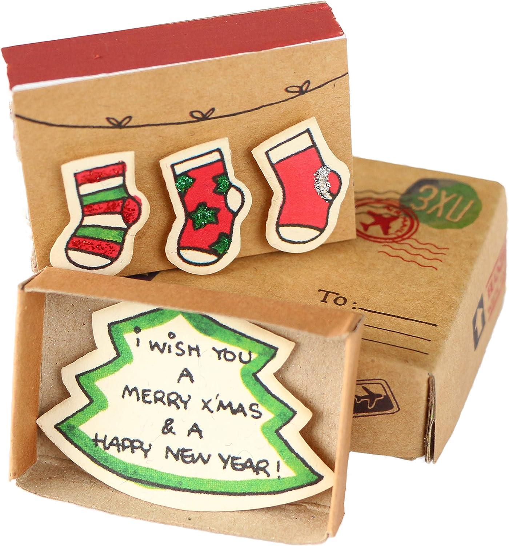 Immi - Caja de cerillas (3 unidades, tamaño pequeño), color Calcetines navideños.: Amazon.es: Oficina y papelería