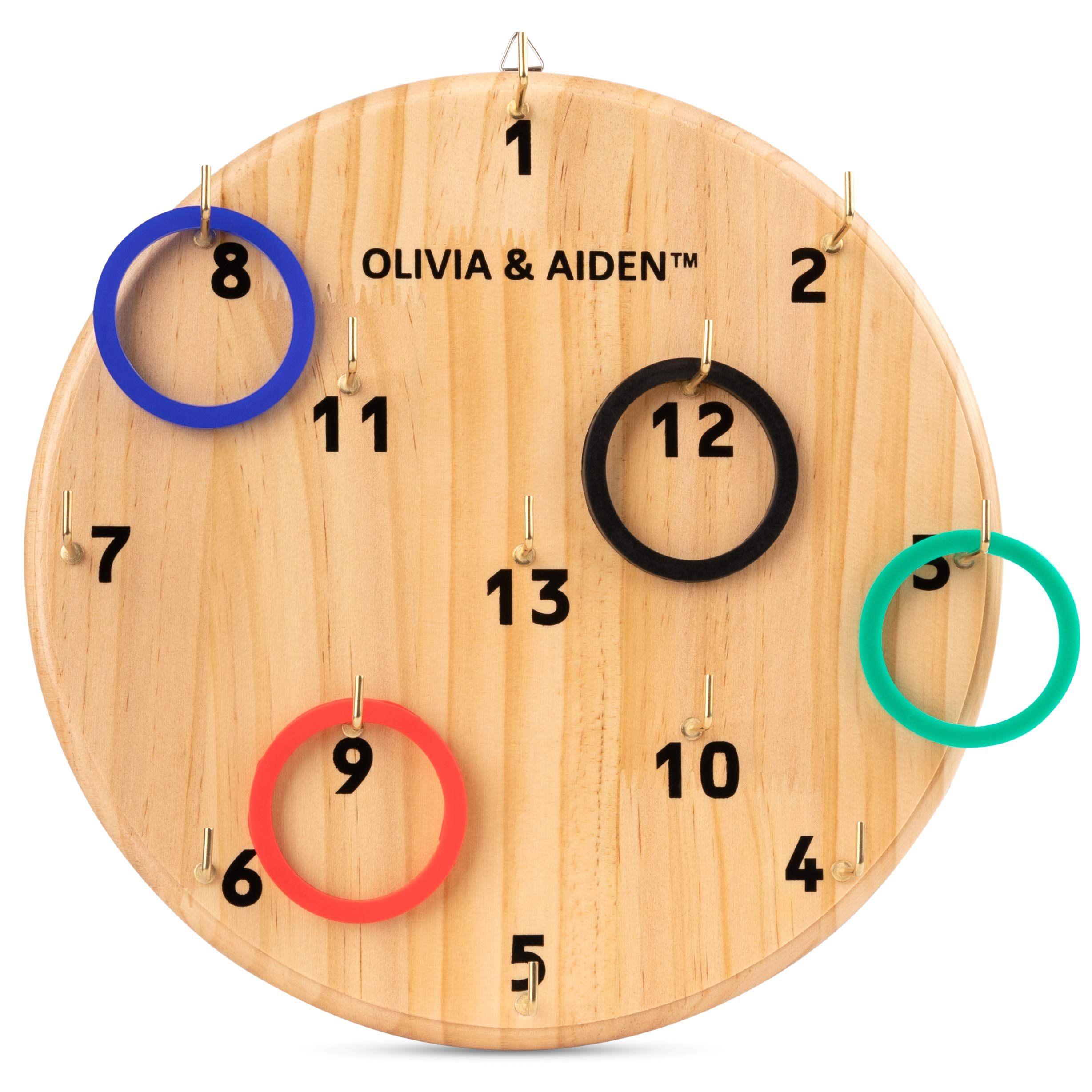 OLIVIA & AIDEN Ring Toss Game for Kids and Adults | Indoor - Outdoor Hook Board Ring Toss | Home, Office, Bar, Backyard or Poolside Game | 4 Color Ring Set for 4 Player Game | Carry Bag by OLIVIA & AIDEN