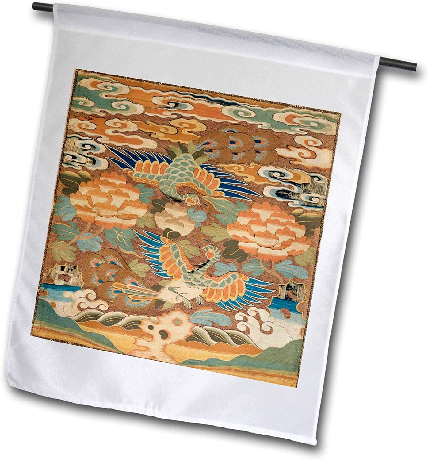 3dRose Lens Art by Florene - World Tapestries - Image of Chinese Pheasant and Floral Wall Hanging - 12 x 18 inch Garden Flag (fl_302030_1)
