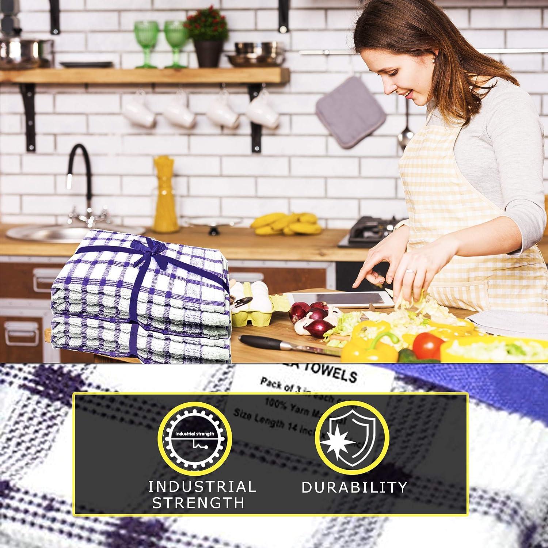 Pa/ño de cocina color negro y blanco. Xelay 14 x 24 hilo Black Pack of 3 100/% algod/ón, tejido de rizo egipcio, secado suave, 3 unidades de 4, 5, 6, 10, 15, 35 cm x 60 cm