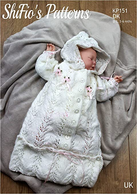 "Baby Sleeping Bag Hood Cable Aran 16/"" 20/"" Knitting Pattern"