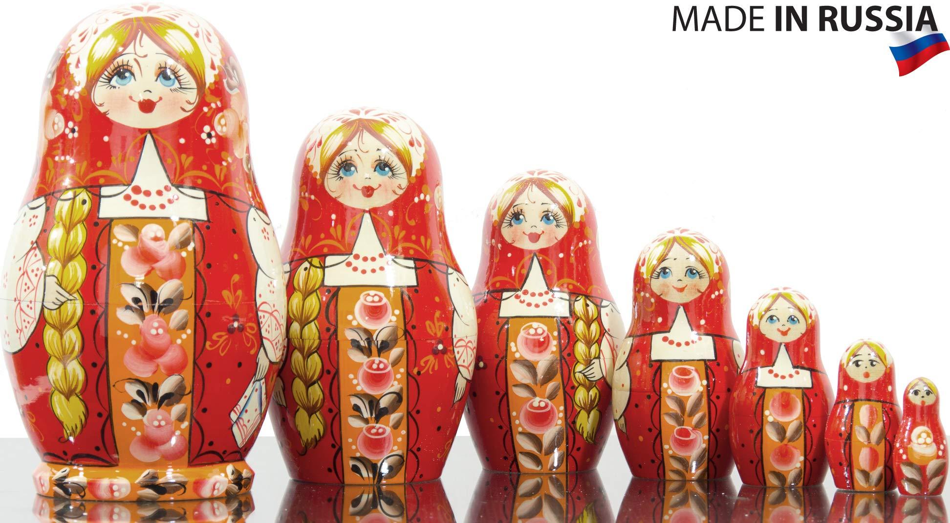 Russian Nesting Doll - Kirov - VJATKA - Hand Painted in Russia - Medium Size - Wooden Decoration Gift Doll - Matryoshka Babushka (Design A, 6.5``(7 Dolls in 1))
